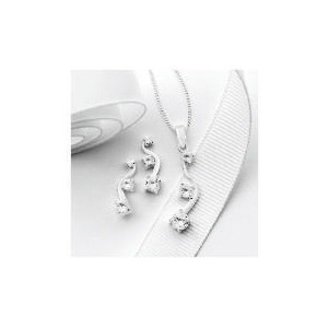 Photo of Silver Cubic Zirconia 3 Stone Wave Earring and Pendant Set Jewellery Woman
