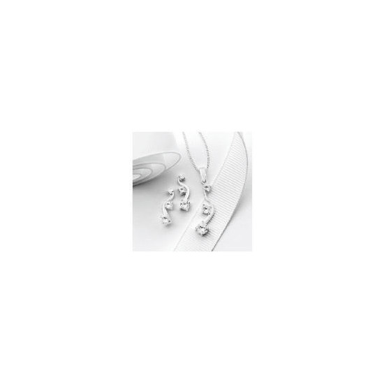 Silver Cubic Zirconia 3 Stone Wave Earring and Pendant Set