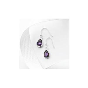 Photo of Silver Purple Cubic Zirconia Teardrop Earrings Jewellery Woman