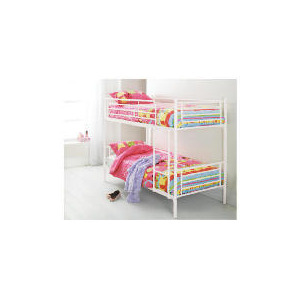 Photo of Mika Metal Twin Bunk Bed Vanilla Bedding