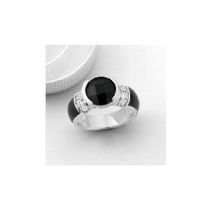 Photo of Pave Back To Black Velvet Cushion Ring, Small Jewellery Woman