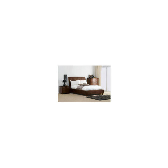 Rouen King Bed, Choc Faux Suede