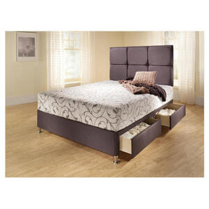 Photo of Mayfair Double 4 Drawer Divan Bed Base, Steel Faux Suede Bedding