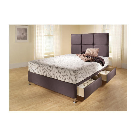 Mayfair Double 4 Drawer Divan Bed Base, Steel Faux Suede