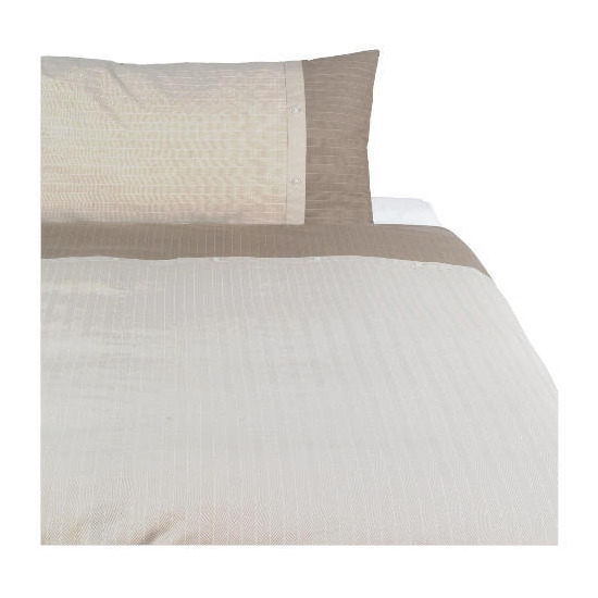Tesco Herringbone Print Duvet Set Single, Dark Natural