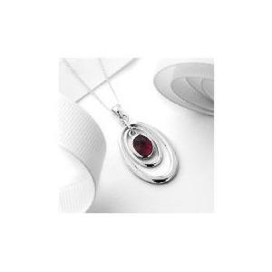 Photo of Silver Garnet 3 Hoop Pendant Jewellery Woman