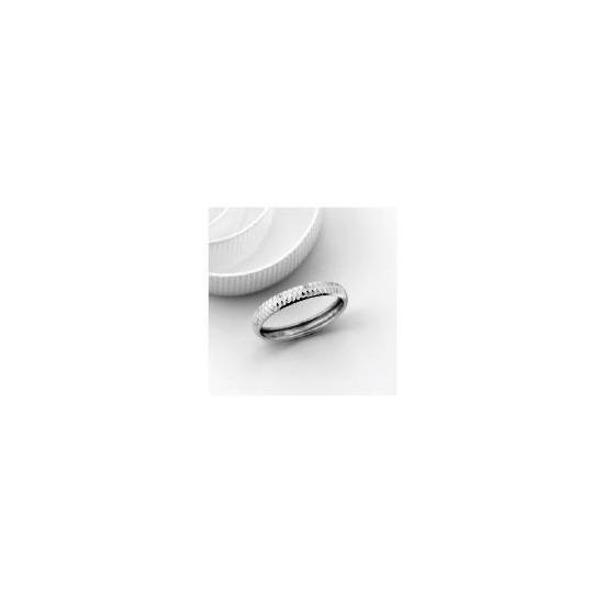 9ct White Gold 2.5mm Diamond Cut Wedding Band, O