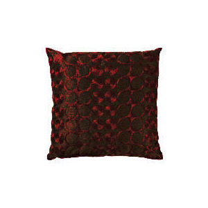 Photo of Tesco Embroidered Spot Cushion, Red & Chocolate Cushions and Throw