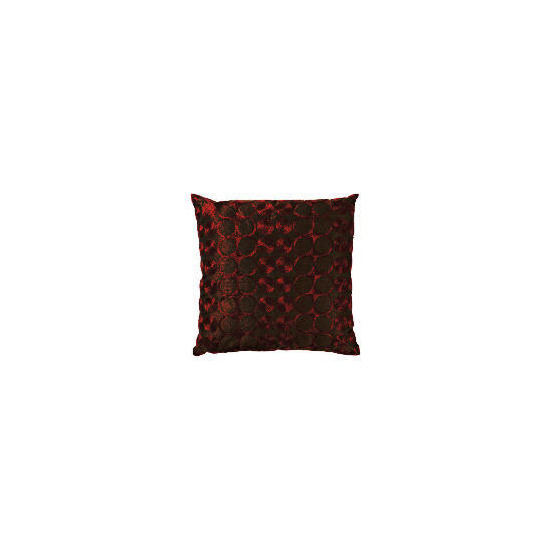 Tesco Embroidered Spot Cushion, Red & Chocolate