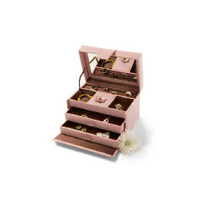 Photo of Pink Leather Effect Flower Jewellery Box Home Miscellaneou