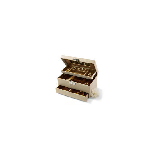 Cream Leather Effect Jewellery Box