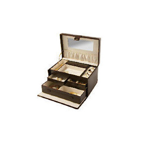 Photo of Chocolate Leather Effect Jewellery Box Home Miscellaneou