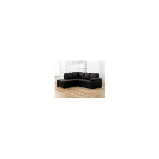 Ashmore left hand facing Leather Corner Sofa, Black