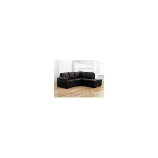 Ashmore right hand facing Leather Corner Sofa, Black
