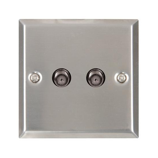 Mercury 122.285 Twin F Connectors / Satellite / Cable Wall Plate - Brushed / Satin Steel Finish