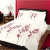 Photo of Oriental Flower Red Quilt Cover Set Double Bed Linen