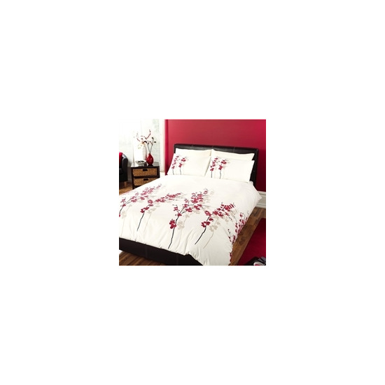 Oriental Flower Red Quilt Cover Set Double