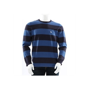 Photo of One True Saxon Crew Neck Bold Stripe Blue Tops Man