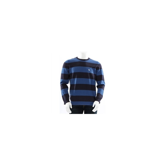 One True Saxon Crew Neck Bold Stripe Blue