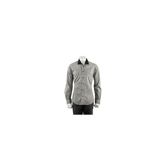 Guide Stripe Shirt With Tonal Collar - Black