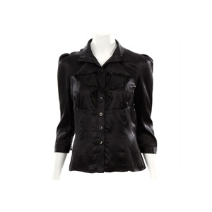 Photo of Lulu and Red Black Silk Ruffle Blouse Tops Woman