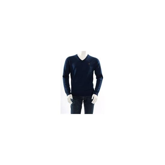 Farah Vintage ' The Hamilton' v neck jumper blue
