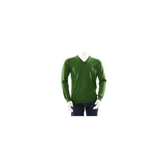 Farah Vintage ' The Hamilton' v neck jumper green