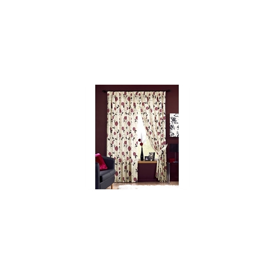 Rosemont Red Lined 1/2 Panama Curtains 168x137cm