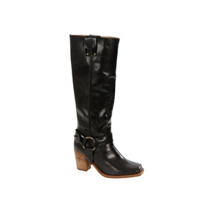 Photo of Caterpillar Black Leather Knee High Biker Boots Shoes Woman