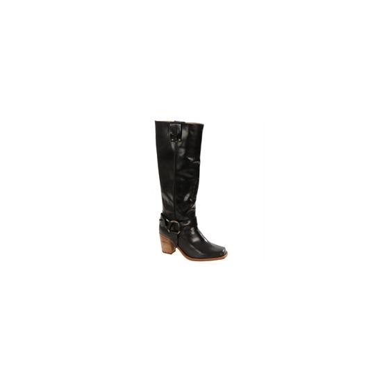 Caterpillar Black Leather Knee High Biker Boots