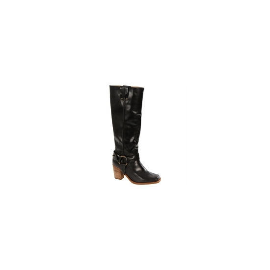 Caterpillar Black Leather Knee High Biker Boots
