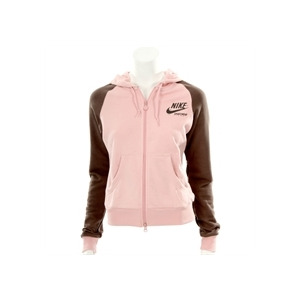 Photo of Nike Pink and Chocolate Hooded Zip Sweatshirt Tops Woman