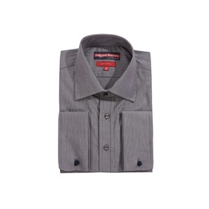 Photo of Stephens Brothers Shirt Dark Grey Double Cuff Shirt