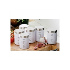 Photo of Set Of 6 White Enamel Spice Jars Home Miscellaneou