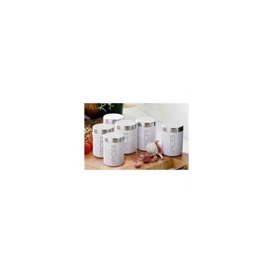 Set of 6 White Enamel Spice Jars