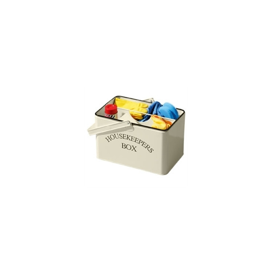 Cream Metal Housekeeper Carry Box & Removable Tray