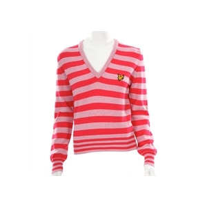 Photo of Lyle Scott Golf Pink LAMBSWOOL Knitted V-Neck Tops Woman