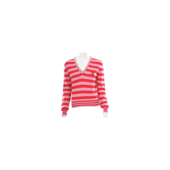 Lyle Scott Golf Pink Lambswool Knitted V-neck