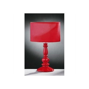 Photo of Glossy Red Ceramic Spindle Table Lamp Lighting