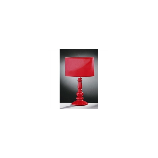 Glossy Red Ceramic Spindle Table Lamp