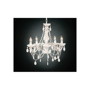 Photo of 5 Arm White Chandelier With Acrylic Beads Lighting