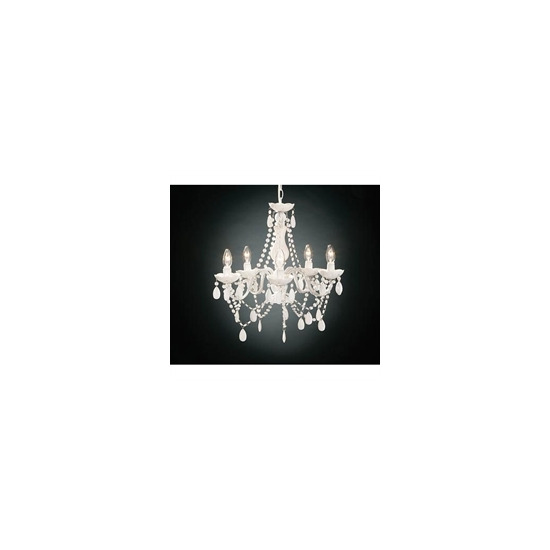 5 Arm White Chandelier With Acrylic Beads