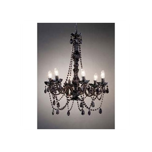 Photo of Black 6 Arm Chandelier With Glass Beads Lighting