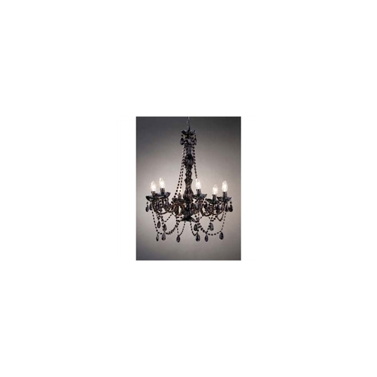 Black 6 Arm Chandelier With Glass Beads