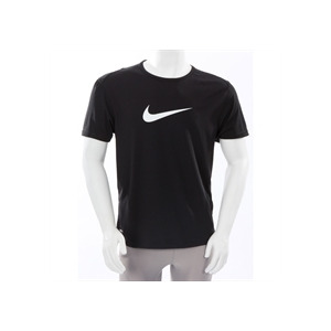 Photo of Nike Dri Fit Large Swoosh T Shirt Black T Shirts Man