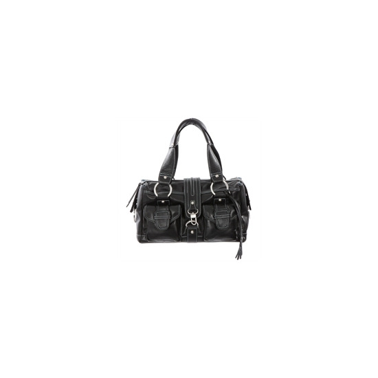 Dents Black Leather Mid Size Bag