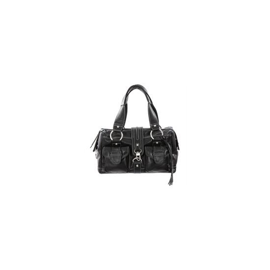 Dents Black Leather Mid Size Bag