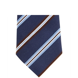 Altea Stripe Silk Tie Navy Brown Reviews