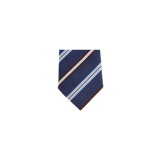Altea Stripe Silk Tie Navy Brown