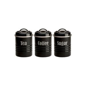 Photo of Typhoon Tea  Coffee and Sugar Storage Jars Black Kitchen Accessory